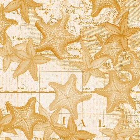 Gold Starfish:  High Tide by Whistler Studios for Windham Fabrics