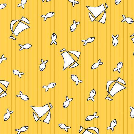 White Fish and Sailboats on Sunbeam Yellow:  Bon Voyage by Myiesha & Katie for WIndham Fabrics