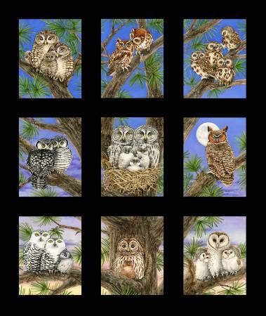 Elizabeths Studio Owl Families 24 Panel Black background