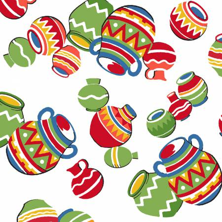 Tossed Colorful Clay Pots on White:  South of the Border by Whistler Studios for Windham Fabrics