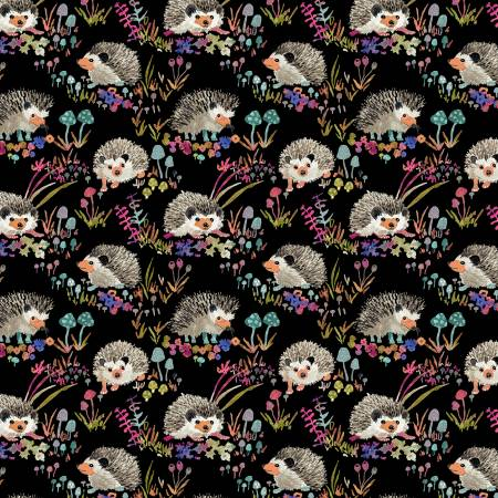Foxwood Black Hedgehogs Cotton Canvas