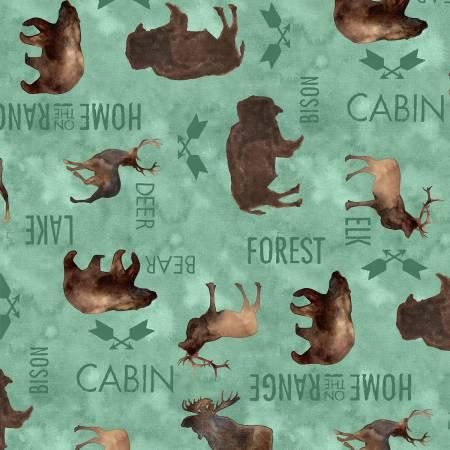 Animals in Teal - Flannel