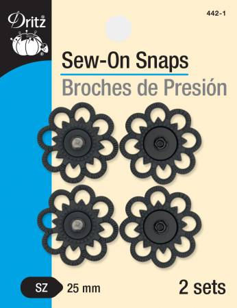 Sew On Snaps Black Flower