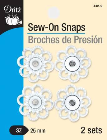 Sew On Snaps White Flower