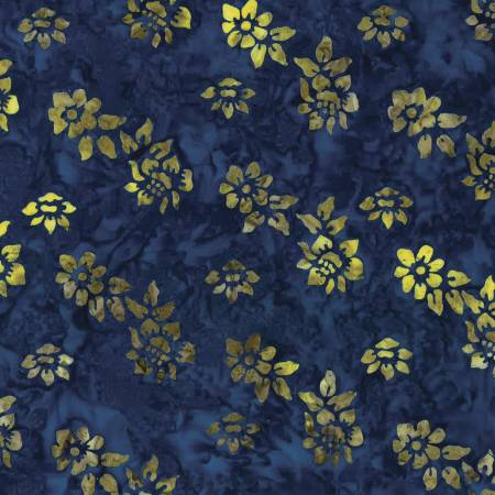Blue/Yellow Small Flower Batik