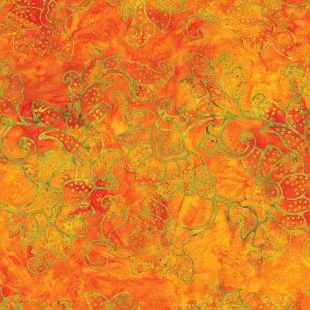 Orange/Green Large Floral Batik