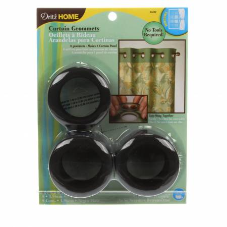 Curtain Grommet Large Matte Black 1-9/16in 8ct