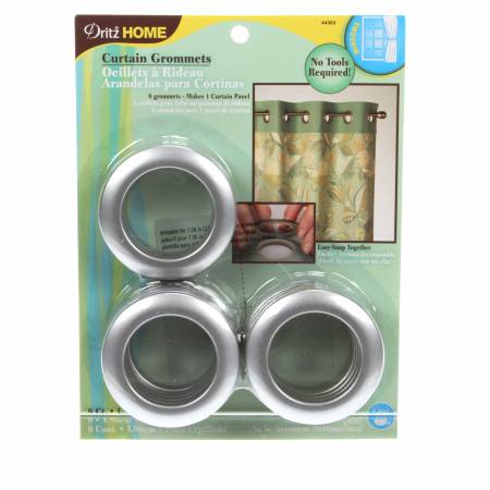 Curtain Grommet Large Silver 1-9/16in 8ct