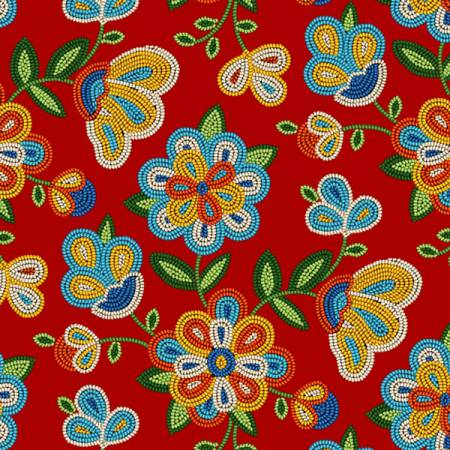 Red Floral 100% Cotton 42-44 Wide