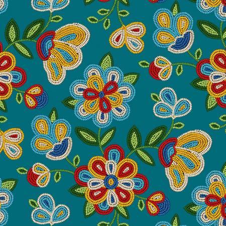 Tucson Turquoise Floral 100% Cotton 42-44 Wide