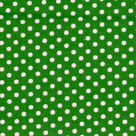 Fabric Lecien Green/White Small Polka Dots