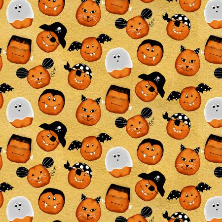 Cheekyville - Gold Pumpkin Faces