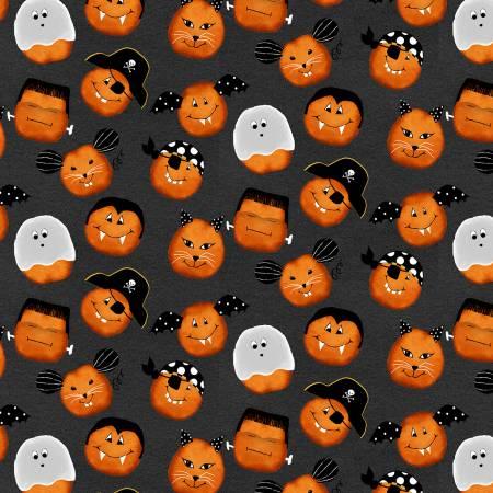 Dark Grey Pumpkin Faces