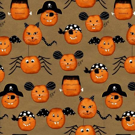 Brown Large Pumpkin Faces