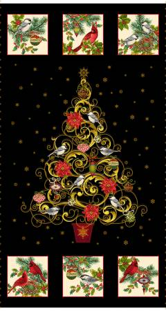 Black Christmas Joy Tree 24in Panel w/Metallic