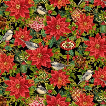 Studio E Christmas Joy Poinsettia w/Metallic Black