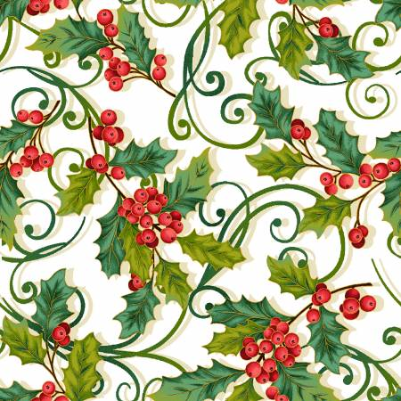 Cream Christmas Holly Allover w/Metallic