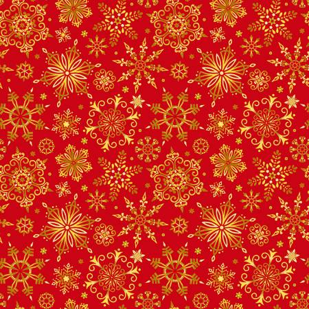 Red Christmas Snowflakes w/Metallic