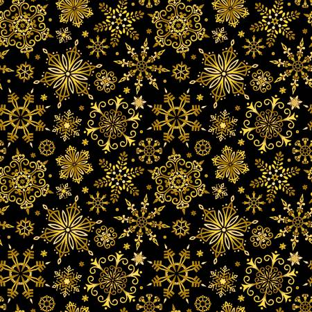 Black Christmas Gold Snowflakes