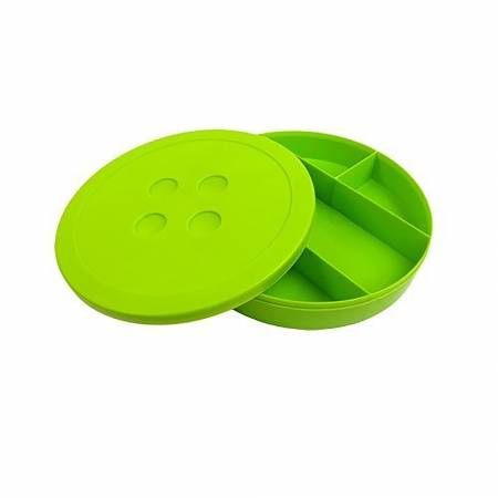 Button Shaped Storage Box Large 9in Diameter Lime