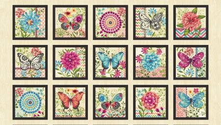 Butterfly Dreams - Cream 7in Blocks 24in repeat panel  4713-33