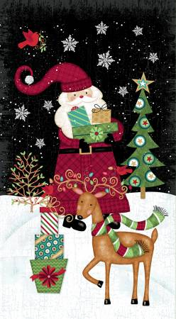 Studio E Holly Jolly Christmas 4746P-98 Black Holly Jolly Christmas 24in Panel