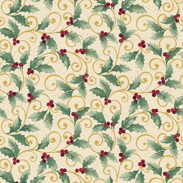 Cream/Multi Holly Scroll w/Metallic