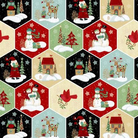 Studio E Holly Jolly Christmas 4749-48 Multi Honeycomb