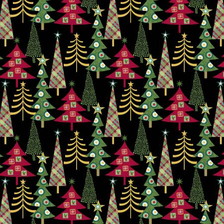 Studio E Holly Jolly Christmas 4752-96 Black Christmas Trees