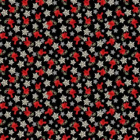 Studio E Holly Jolly Christmas 4753-98 Black Tossed Birds