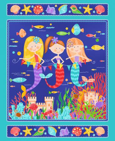 Mermaids Rock - Turquoise Panel,  36in x 44in - by Art Loft for Studio E Fabrics - Sold by the Panel