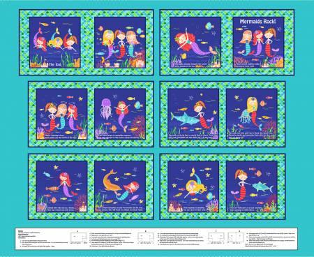 Mermaids Rock - Book Panel, 36in x 44in - by Art Loft for Studio E Fabrics