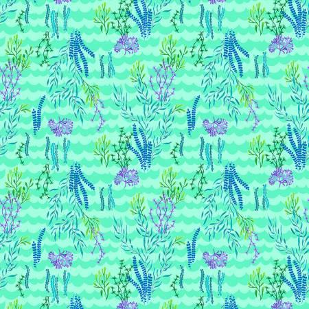 Mermaids Rock - Light Aqua Seaweed - by Art Loft for Studio E