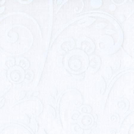 White/White Tone on Tone Scroll 108in Wide Back