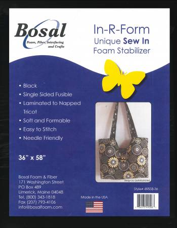 In-R-Form Single Sided Fusible Foam Stabilizer Black 58in x 36in