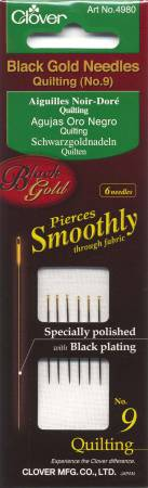 Clover Black Gold Quilting Needle Size 9 6ct