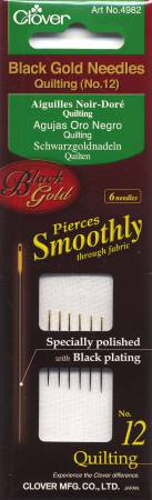 Clover Black Gold Quilting Needle Size 12 6ct