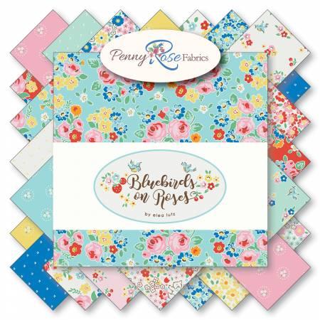 Bluebirds On Roses 5in Squares, 42pcs, 3 bundles/pack