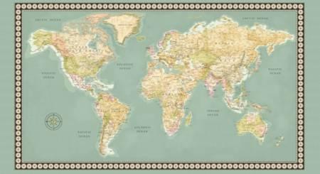 Meridan - 50033P-X - World Map 2/3 yd Panel