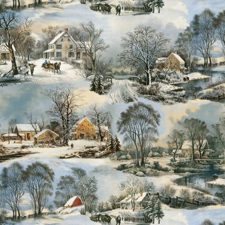 SPECIALTY FABRICS ROOM:  Winter in the Country:  On Frozen Pond by Whistler Studios for Windham Fabrics.  Coordinate with On Frozen Pond Panel