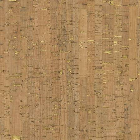 Natural Real Cork Fabric w/Metallic Gold