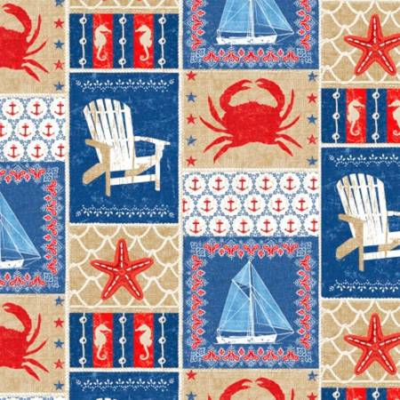 Crabs, Starfish, Anchors, Sea Horses, Beach Chairs, and Sailboats in Tan and Blue boxes:  Shoreline by Whistler Studios for WIndham