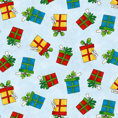 Christmas Gifts on Light Blue:  Winter Wishes by Whistler Studios for WIndham Fabrics