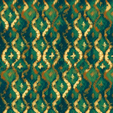 SPECIALTY FABRICS ROOM:  Emerald Brocade with Tiny Gold Crosses:  Three Kings by Whistler Studios for Windham