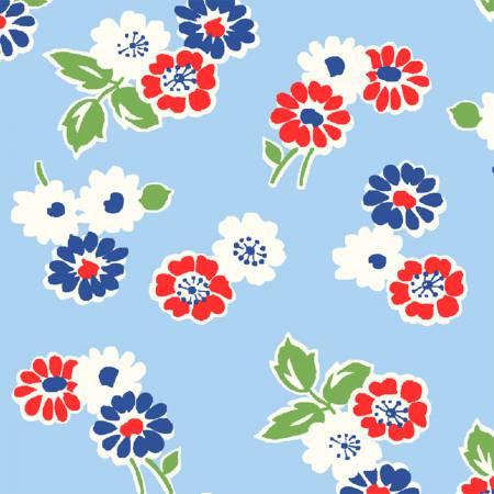 Sugar Sack Blue Tossed Floral 50435-2
