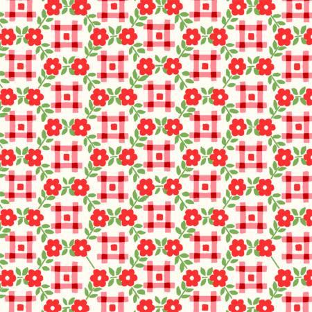 Sugar Sack Red Gingham Floral 50436-1