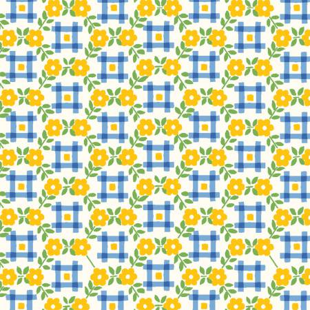 Sugar Sack Yellow Gingham Floral 50436-3