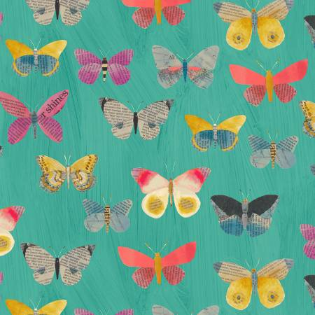 Aqua Newspaper Butterflies