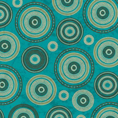 Cream. Brown, and Yellow Basket Rings on Turquoise:  Adobe by Whistler Studios for Windham