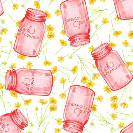 Cottage Joy - Pink Flower Jars